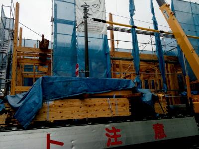 国産材を使った大阪市旭区の木造3階建住宅新築現場~建築士事務所民家